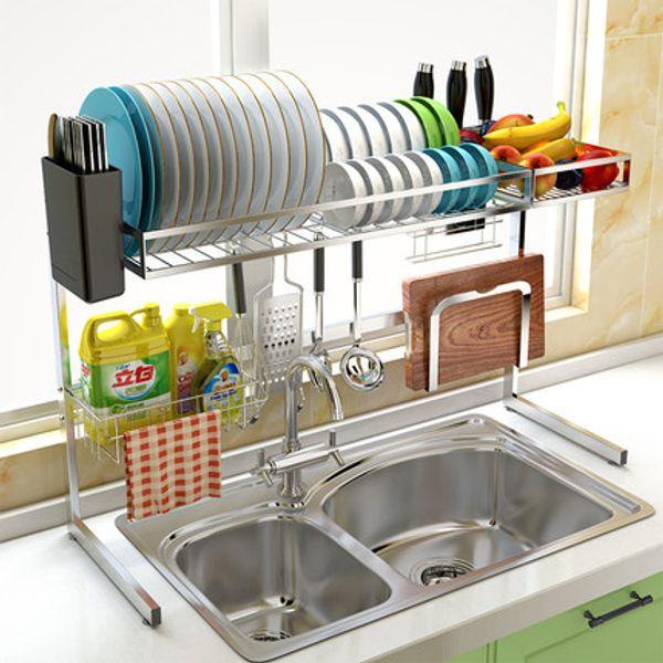 304 Stainless Steel Sink Drain shelf Dish Rack Kitchen Storage Rack Drying Bowl Put Bowl Rack Pool Top Shelf