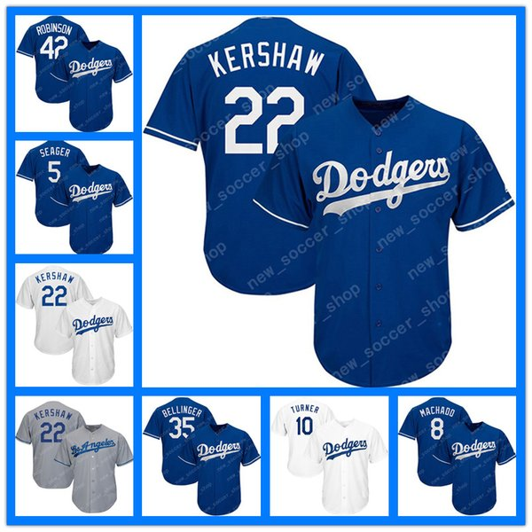 more photos 41c6f 80668 2019 Los Angeles 22 Clayton Kershaw Jersey Dodgers 35 Cody Bellinger 5  Corey Seager 31 Mike Piazza 8 Machado 10 Turner 42 Robinson Jerseys From ...