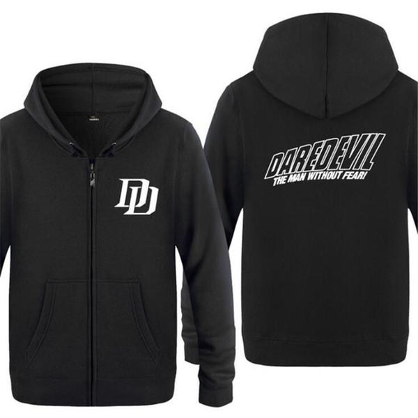 Mens Hoodie Daredevil The MAN WITHOUT FEAR Hoodies Men Fleece Long Sleeve Zipper Jacket Coat Sweatshirt Hip Hop Skate Tracksuit