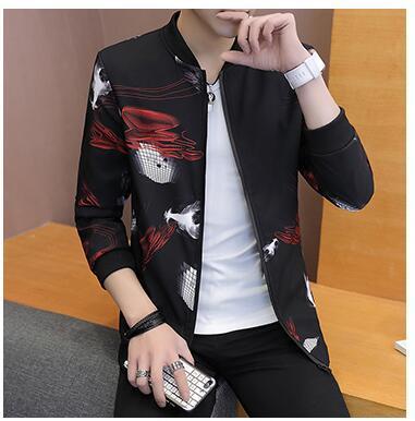 куртка мужская куртка мужская весна осень тренд красивый пальто тонкая печать одежды