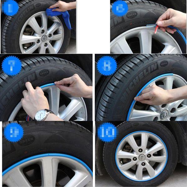 Hot Sale 8M/Roll Car Wheel Hub Tire Sticker for jeep grand cherokee liana civic 2008 3008 Accessories