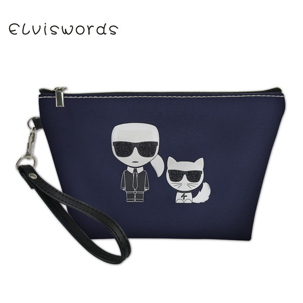 ELVISWORDS Karl Lagerfelds Makeup Bags for Travel Cosmetic Cases Waterproof Organizer for Women Girls Toiletry Pouch Necesserie