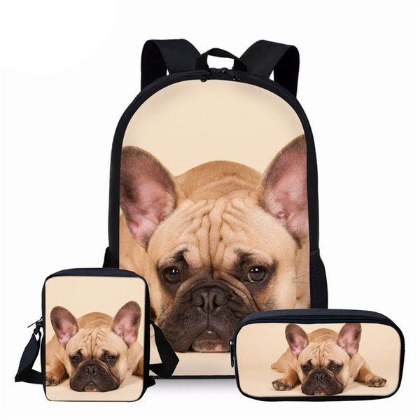 NOISYDESIGNS French Bulldog School Bag for Children Girls Casual Book Bags Animal Dog Prints Kids Backpack Boys Girls Schoolbags