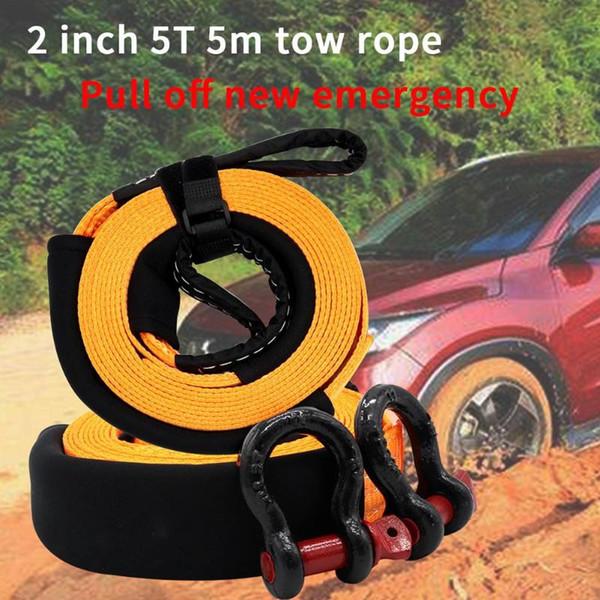 Ağır Araba Çekme Halatı 5 T 5 m Oto Acil Güvenlik Çekme Halatı Kablo Tel Ile 2 Çekme SUV Kamyon Römork Için Kanca Araba