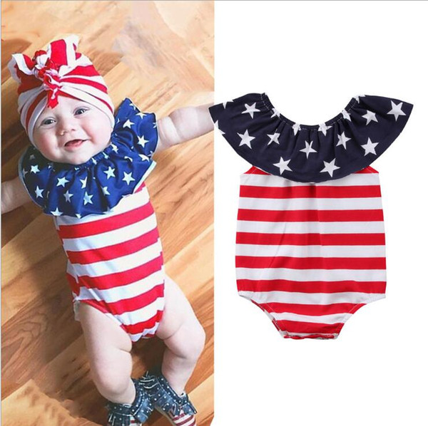 4 luglio Outfit Baby Boy Girl USA Flag American Stars Stripes Pagliaccetto Tuta Independence Day Clothes Toddler Boys and Girls Clothes