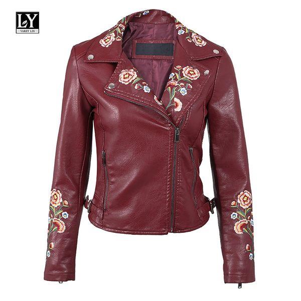 Ly Varey Lin Embroidery Jacket Coat Women Pu Motorcycle Faux Soft Leather Black Short Bomber Jacket Female Pink Punk Coat