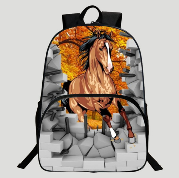 Horse Printing School bag rucksack Boys and girls School gift Laptop bag Large capacity students package Fashion C15