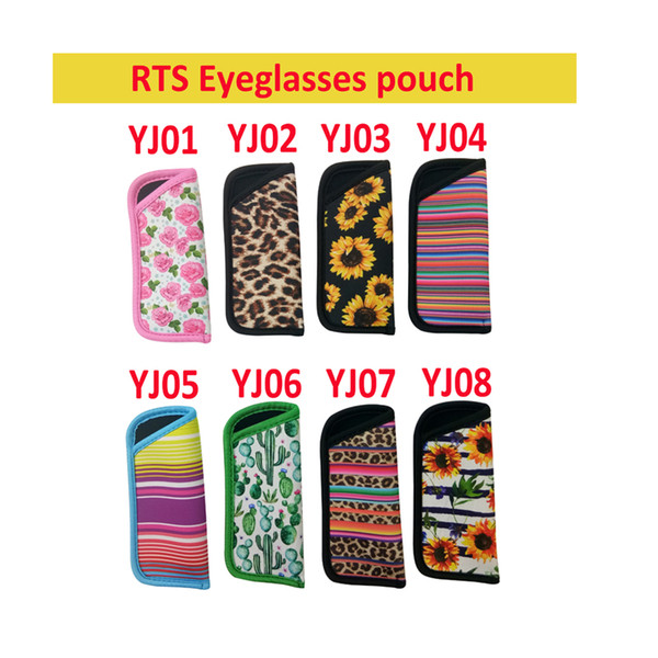8 estilos RTS Eyeglasses Pouch Cactus Leopard Print Rainbow Sunflower Neoprene bag Portable Travel Storage Bag Eyeglasses Accessories FFA2795