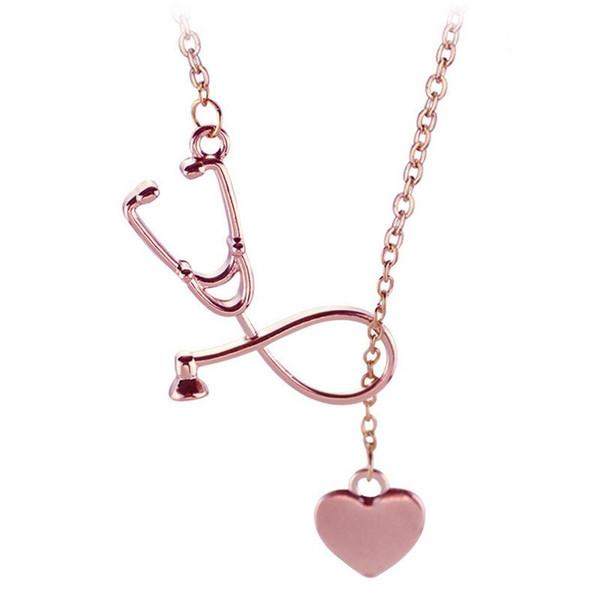 Oro Cuore Stetoscopio collana Infermiere Silver Jewelry Nursing bijoux Medicina laurea pendenti delle collane regalo femme