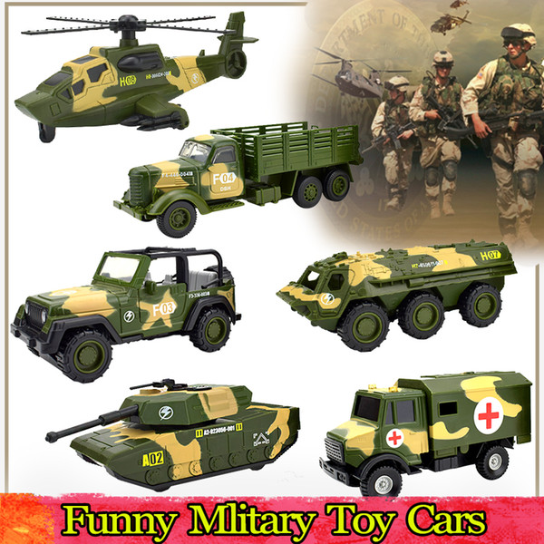 Alloy Die-cast Military Cars Toy for Kids Inertial Pull Back Vehicle Model Home Decoration Educational Preschool Toys for Boys Party Favors