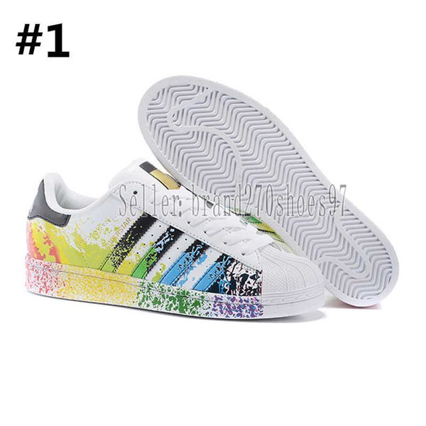Designer shoes Adidas men women 2019 Super Estrela Branco Holograma Iridescente Junior Superstars 80 s Pride Womens Mens Formadores Superstar Sapatos Casuais Tamanho