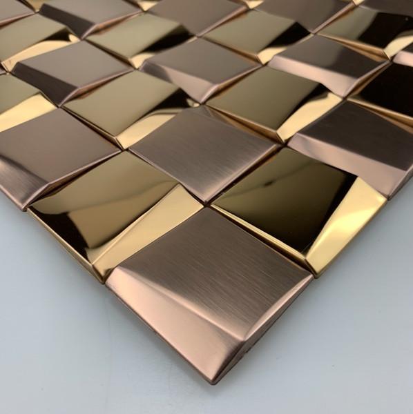 3D Art Mosaico Rosa de Ouro de Prata Branco Quadrado Vermelho de Aço Inoxidável Metálico Telha Da Parede Backsplash Brilhante Fosco Telha De Metal Escovado
