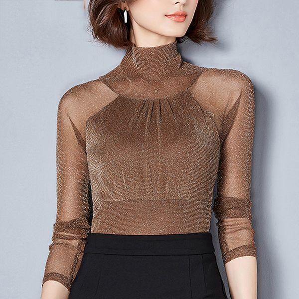 blouse woman  2019 new long sleeves lace spliced womens clothing turtleneck women  fashion solid women blouses shirt regular