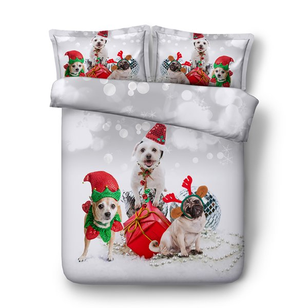 Puppy Dog Prints Cute Duvet Cover Set For Kids Girls 3 Pieces Boys Christmas Bedding Sets With 2 Pillow Shams Comforter Cover Zipper Closure