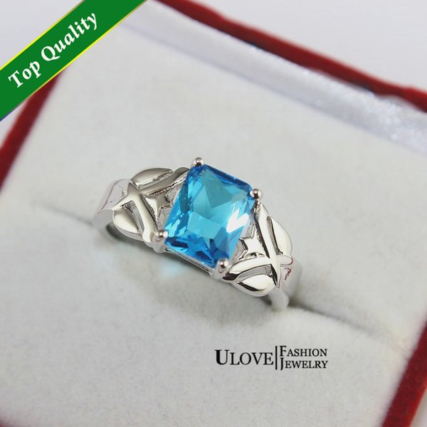 Discount New Vintage Wedding Ring O Elegant Simulated Blue Diamond Jewelry for Engagement Wedding Mom's Gift Rings Y005