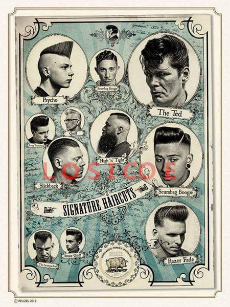 SIGNATURE HAIRCUTS Vintage Tattoos Patterned Posters Kraft paper Interior Painting Wall Sticker restoring Wall Sticker Barber shop Decor