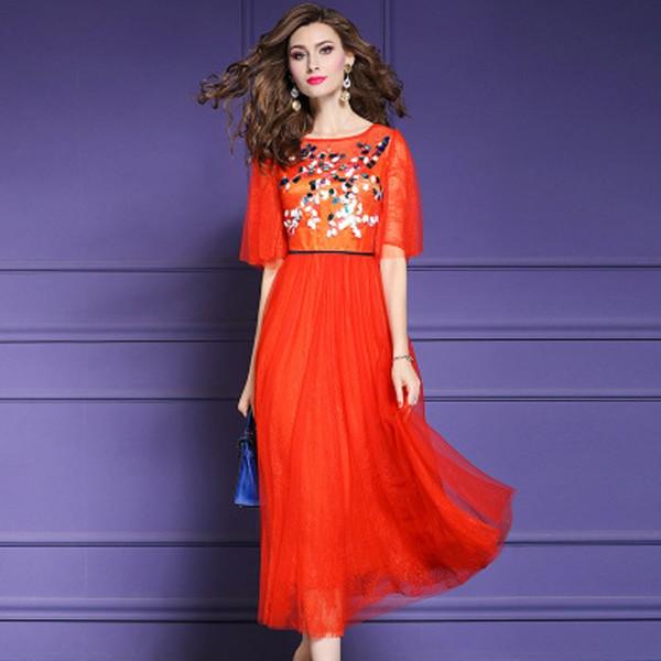 Piste 2019 nouveaux vêtements de haute qualité Paillettes Femmes Vintage été dentelle longue robe sexy club Plus Size ladies red robes de soirée