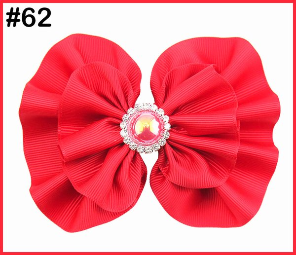 free shipping 30pcs 5-5.5'' round rhinestone hair bows girl baby hair bows fashion girl accessories big pearl hair bows