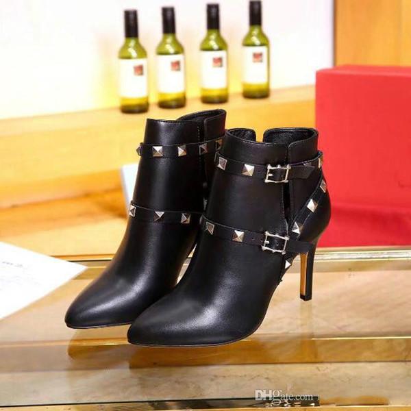 Rivet Boots Luxus Damenschuhe Im Frühjahr und Herbst des Designers Stiefel mit hohen Absätzen Sexy Leder Neueste Fashi