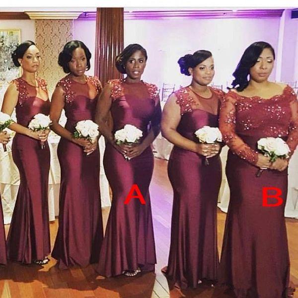 Bordo Afrika Gelinlik Modelleri Nijeryalı Ülke Bahçe Düğün Konuk Elbiseler Artı Boyutu Custom Made Onur Hizmetçi Abiye