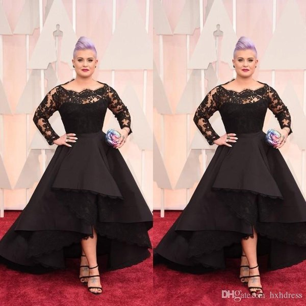 2019 Plus Size Long Formal Evening Dresses Oscar Kelly Osbourne Celebrity Black Lace High Low Red Carpet Dresses Ruffles Prom Party Gowns