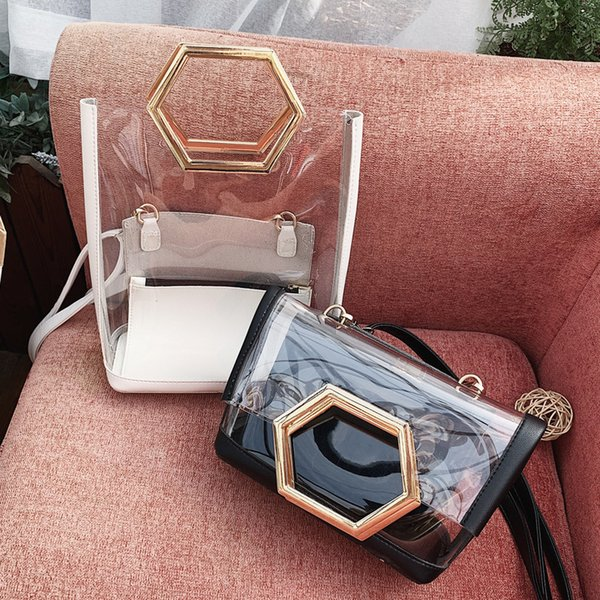 Belle2019 Transparent Rui Man Bag Woman All-match Oblique Tide Satchel Single Shoulder Western Style Package Hand
