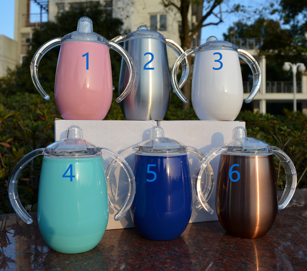 Sippy cup egg mug toddler tumbler 2pcs retail 2-function 9oz 18/8 stainless steel insulated vacuum double wall thermos glass free ePacket