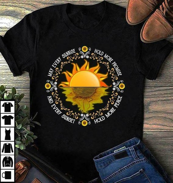 Sunflower May Every Sunrise Hold More Promise Men T Shirt in cotone nero S 6xl