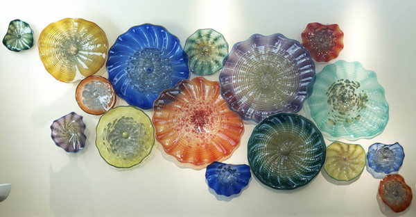 Free Shipping Elegant Artistic Glossy Wall Decor Plates 100% Hand Blown Murano Glass Wall Light for Wedding Decoration