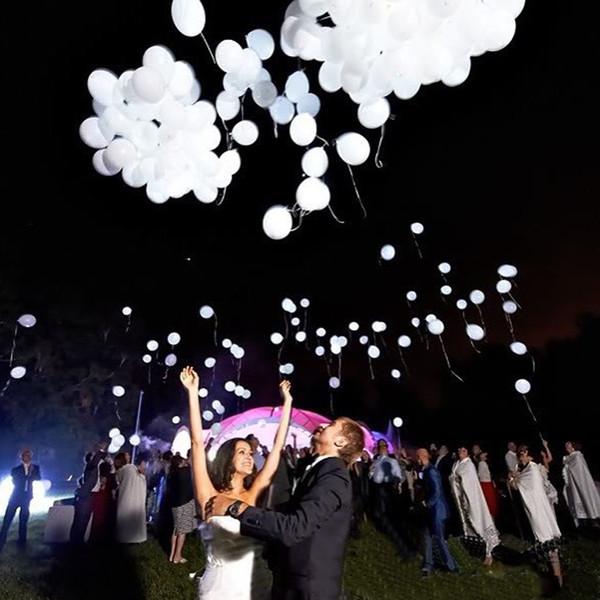 Hot 50 pçs / lote 12 polegadas Led Branco Flash Balloons Iluminado Led Balão Brilho Suprimentos de Festa de Aniversário Decoração de Casamento Atacado Y19061502