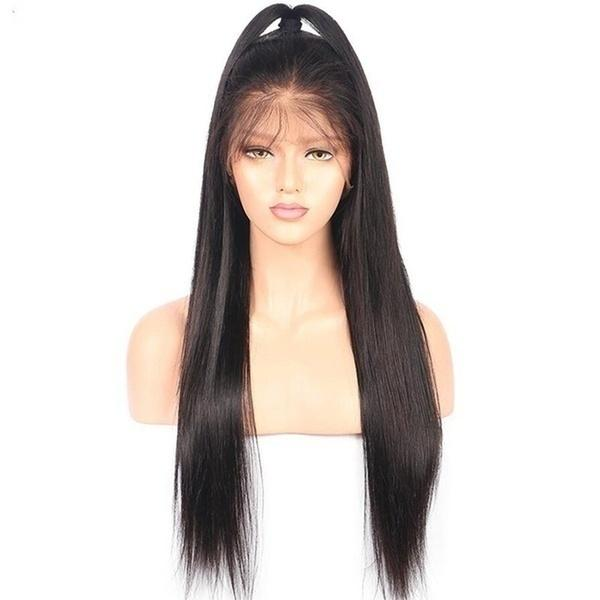 Natural Looking Full Lace Heat Resistant Synthetic Wig Can Make Ponytail Black Long Silk Straight Synthetic Lace Front Wigs for Black Women