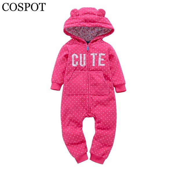 Cospot Bebe Clothes Newborn Hoodie Fleece Hooded Jumpsuit Spring Long Sleeved Romper Baby Boy Baby Girl Clothes 2019 New 40 MX190720
