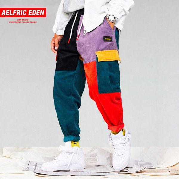 top popular Aelfric Eden Men Corduroy Patchwork Pockets Cargo Pants 2018 Harem Joggers Harajuku Sweatpants Hip Hop Streetwear Trousers UR51 2020