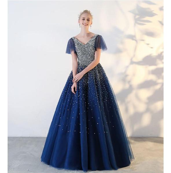 2020 последние сексуальные платья выпускного вечера линия V-образным вырезом милая из бисера на заказ вечернее платье длиной до пола, без рукавов платья партии
