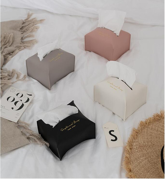 high quality PU leather tissue bag bedroom creative bedside or table decoration 4 colors tissue boxes