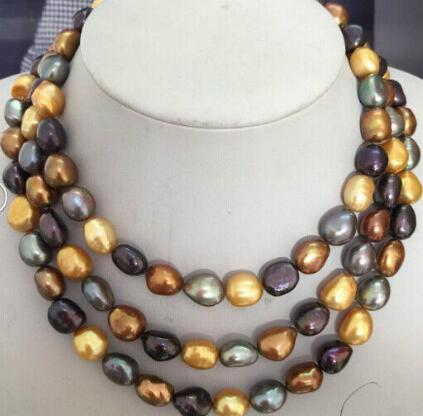 10-12mm tahitian natural negro gris rojo multicolor collar de perlas 38