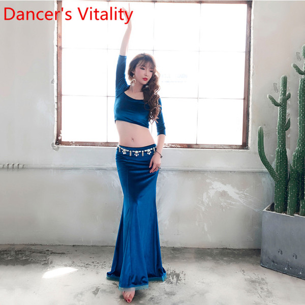 Newly Designed Belly Dance Costume Half Sleeves Top Sexy Split Skirt Indian Oriental Dance Women Lady Girls Belly Velour Ruffled Hem Clothes