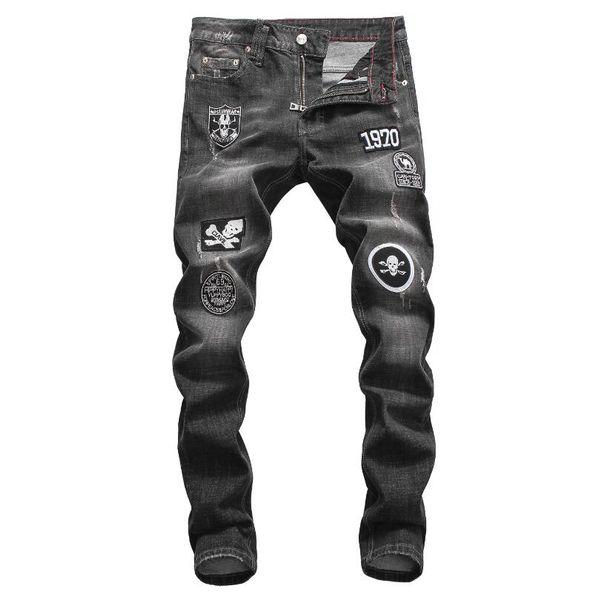 D2019 Haute qualité mode New Style Marque Hommes Denim Jean Broderie Tigre Pantalon Trous Jeans Zipper Hommes Stretch trou jeans # 8638