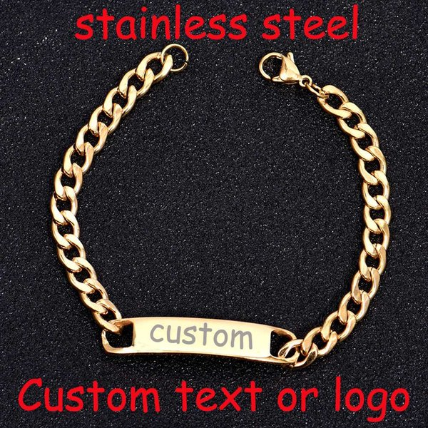 2019 Baby Name Bracelet Personalized Custom Stainless Steel Bracelet Simple  Bangle Engraved Name Motto Gold Silver Charms From Pulchritudinous, $34 32
