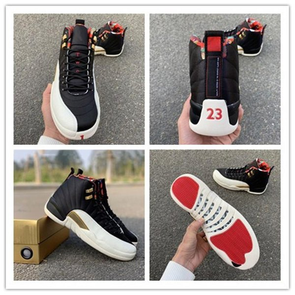 Cspace 2019 CNY Basketball Shoes 12s Year of Pig Black White Gold Brand Desgin Fashion Look Mens Women Sports Sneakers
