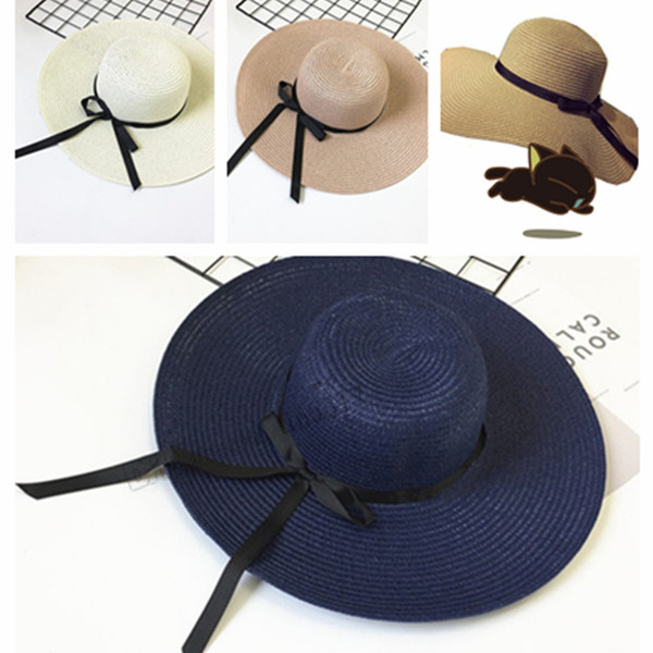 New 2019 elegant Korean version straw hat uv protection ladie big brim hat beach hat T2C5028
