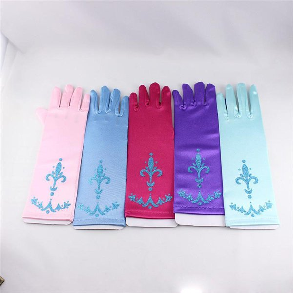 2019 selling 5 Colors Girls Long Gloves NEW children cartoon Princess Girls Ladies Fancy Gloves B 24cm