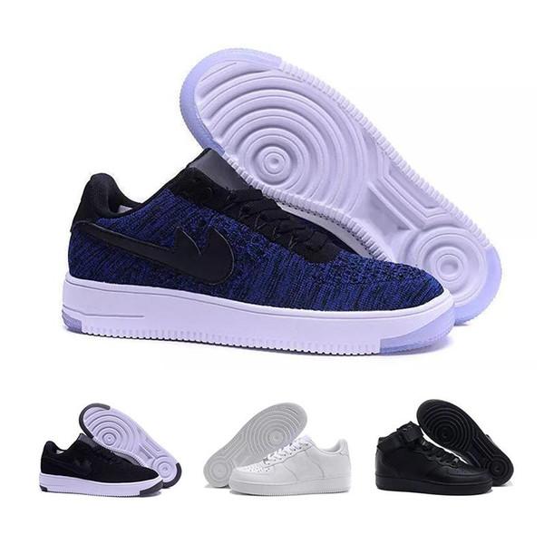 2019 Klasik tarzı erkek ve kadın Flyline koşu ayakkabıları, spor kaykay ayakkabı yüksek dekolte siyah ve beyaz outdo 1 çift
