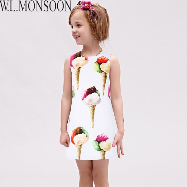 W.L.MONSOON Girls Summer Dresses 2019 Brand Vestido Princesa Ice Cream Kids Dresses for Girls Costume Princess Children Dress