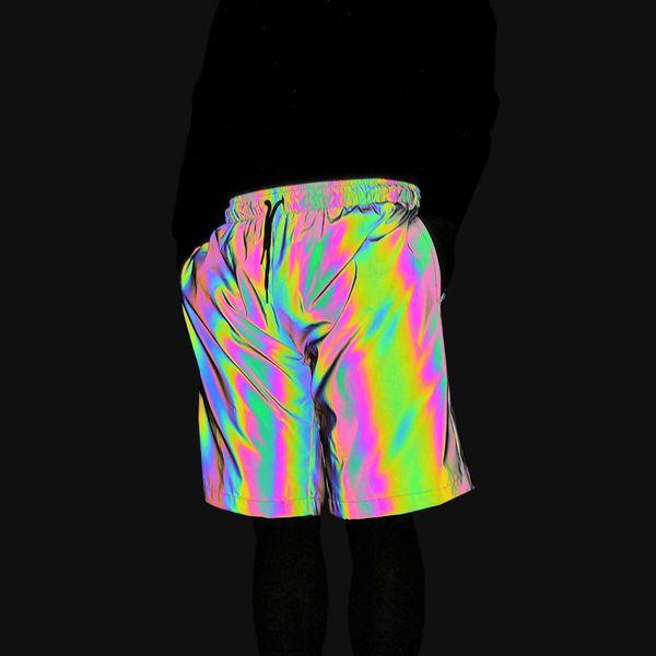 Dropshipping renkli yansıtıcı şort erkekler jogging yapan kadınlar hip hop kısa pantolon gece joggers erkekler kulübü dans yansıtıcı sweatpants