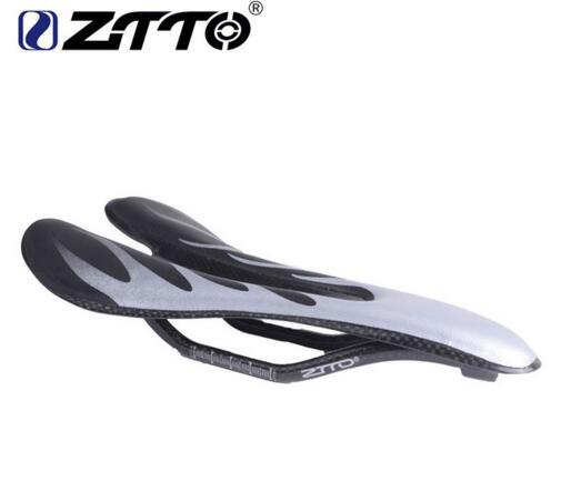 ZTTO Silver Carbon Saddle Ultra-light breathable Cycling Bike Saddles MTB Road PU Leather Seat Mountain Bicycle Parts Hollow