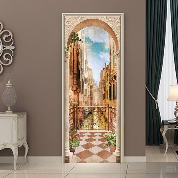 3D diy balcón columna romana etiqueta de la puerta wallpaper mural pvc impermeable dormitorio sala de estar cartel decoración del hogar 77 * 200 cm