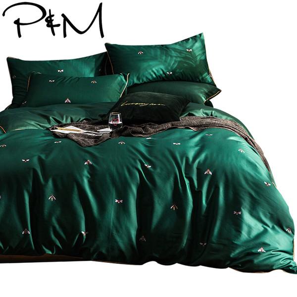 Little bees print Egyptian cotton fabric bedding set Queen Size green duvet cover flat sheet pillowcase