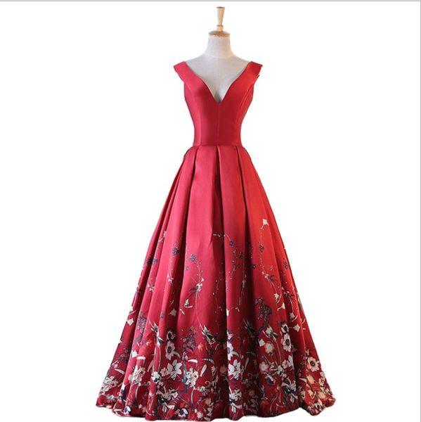 Dresses Evening Wear Burgundy V-Neck Flower Gowns Sleeves A Line Long Evening Dress Party Elegant Vestido De Festa Prom Gown