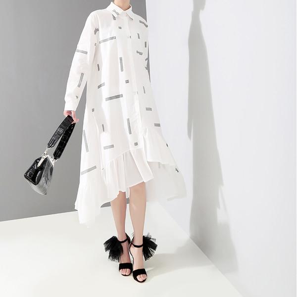 New 2019 Korean Style Women White Striped Shirt Dress Long Sleeve Ruffles Hem Female Stylish Midi Party Club Dresses Robe F223